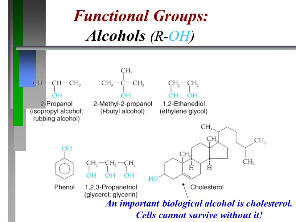 Functional Groups: Alcohols (R-OH) An important biological alcohol is cholesterol. Cells cannot survive without it!