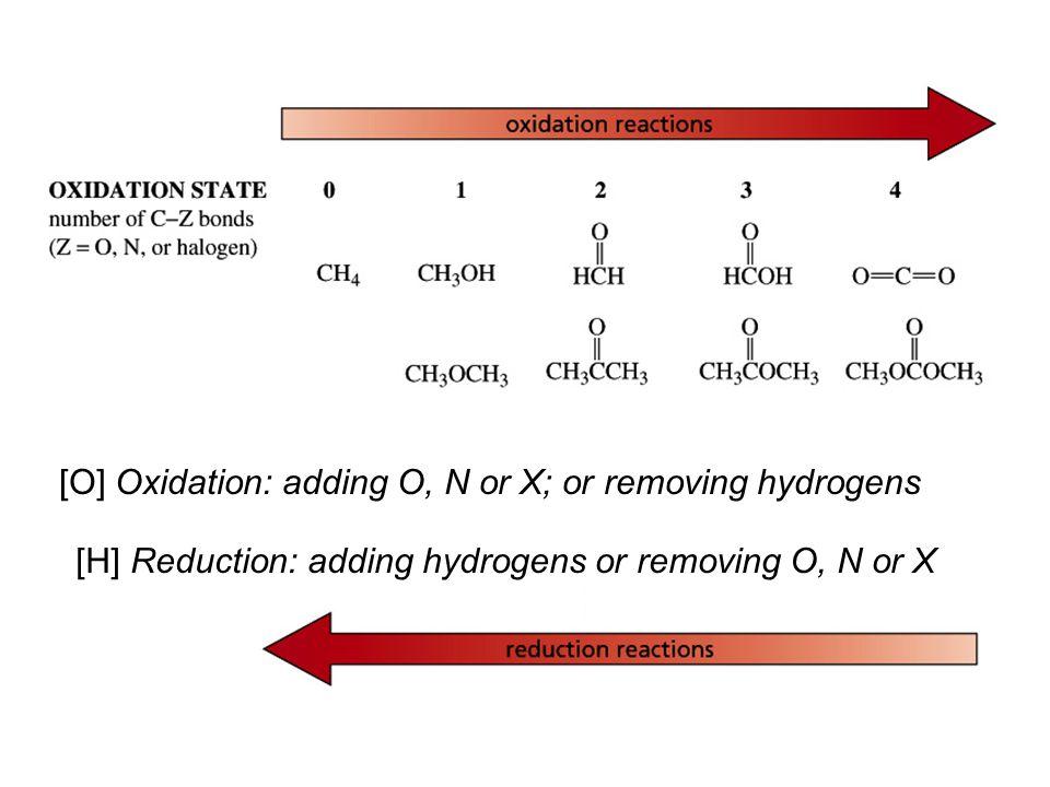 [O] Oxidation: adding O, N or X; or removing hydrogens [H] Reduction: adding hydrogens or removing O, N or X
