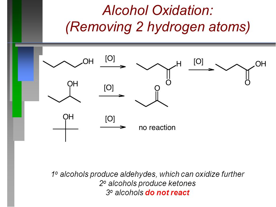 Alcohol Oxidation: (Removing 2 hydrogen atoms) 1 o alcohols produce aldehydes, which can oxidize further 2 o alcohols produce ketones 3 o alcohols do
