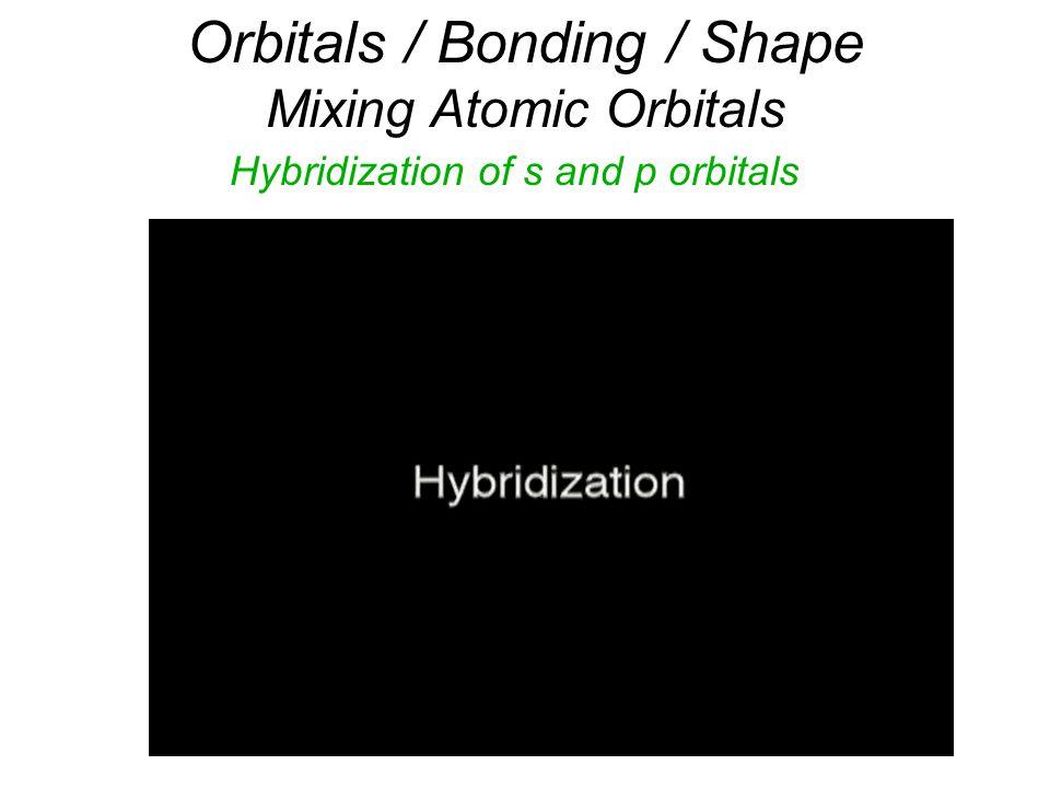 Orbitals / Bonding / Shape Mixing Atomic Orbitals Hybridization of s and p orbitals