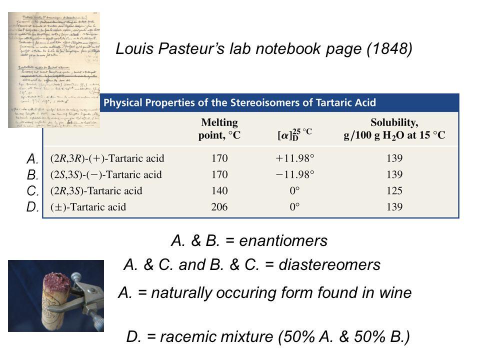 A. & B. = enantiomers A. & C. and B. & C. = diastereomers A. B. C. D. D. = racemic mixture (50% A. & 50% B.) Louis Pasteur's lab notebook page (1848)