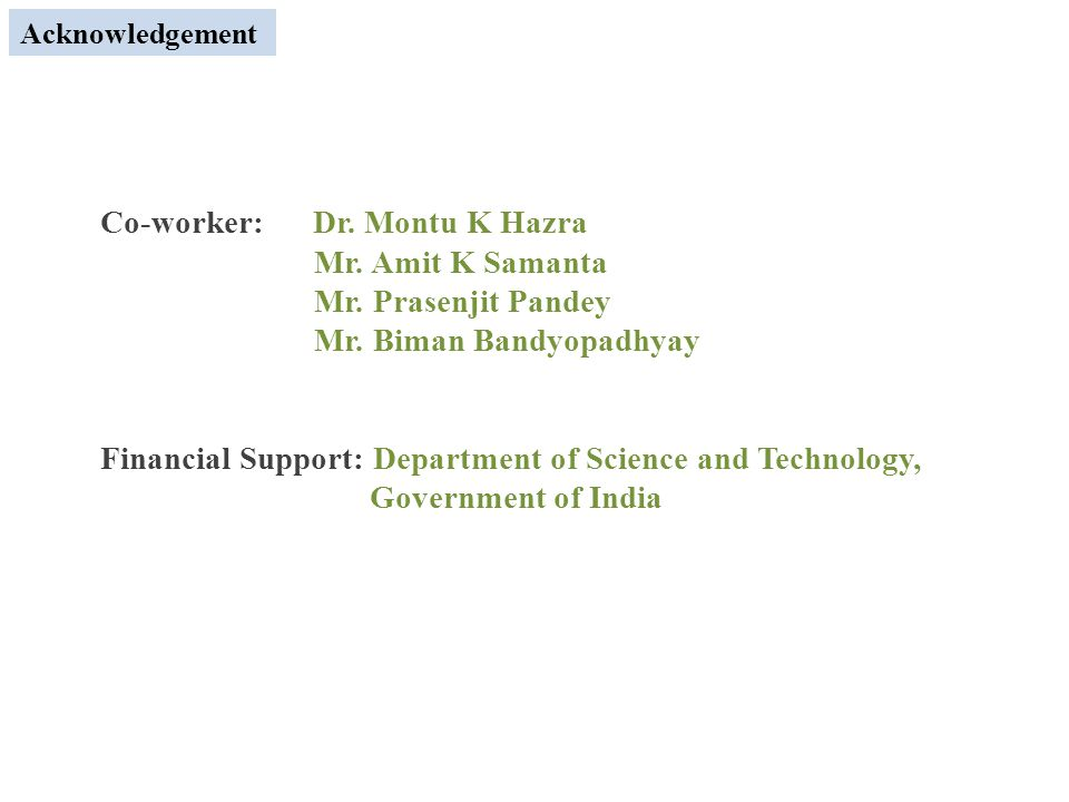 Acknowledgement Co-worker: Dr. Montu K Hazra Mr. Amit K Samanta Mr.