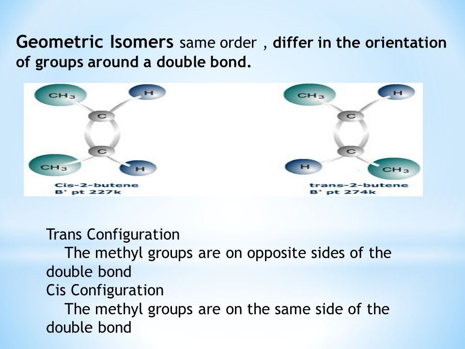 Geometric Isomers same order, differ in the orientation of groups around a double bond.