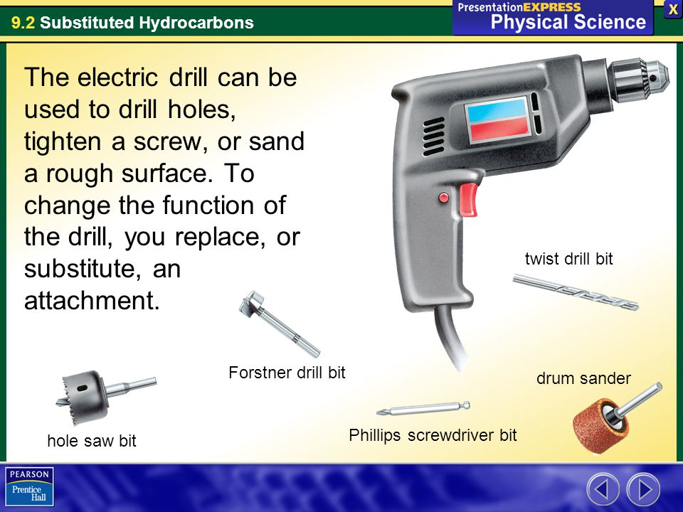 9.2 Substituted Hydrocarbons The electric drill can be used to drill holes, tighten a screw, or sand a rough surface. To change the function of the dr