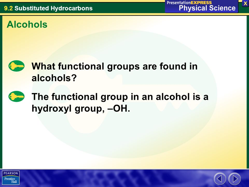 9.2 Substituted Hydrocarbons What functional groups are found in alcohols? Alcohols The functional group in an alcohol is a hydroxyl group, –OH.