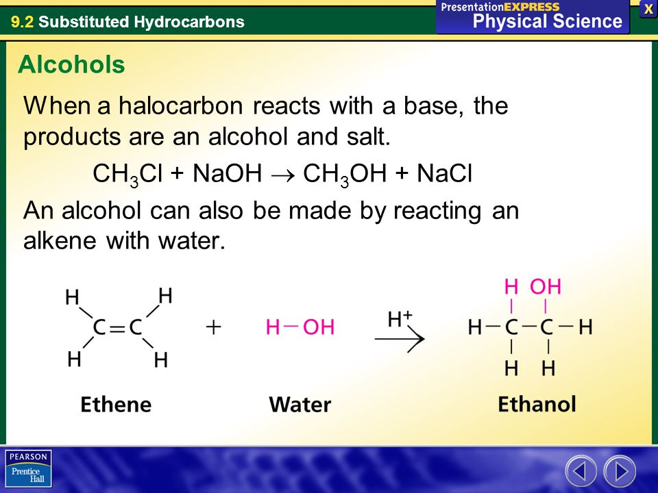 9.2 Substituted Hydrocarbons When a halocarbon reacts with a base, the products are an alcohol and salt. CH 3 Cl + NaOH  CH 3 OH + NaCl An alcohol ca