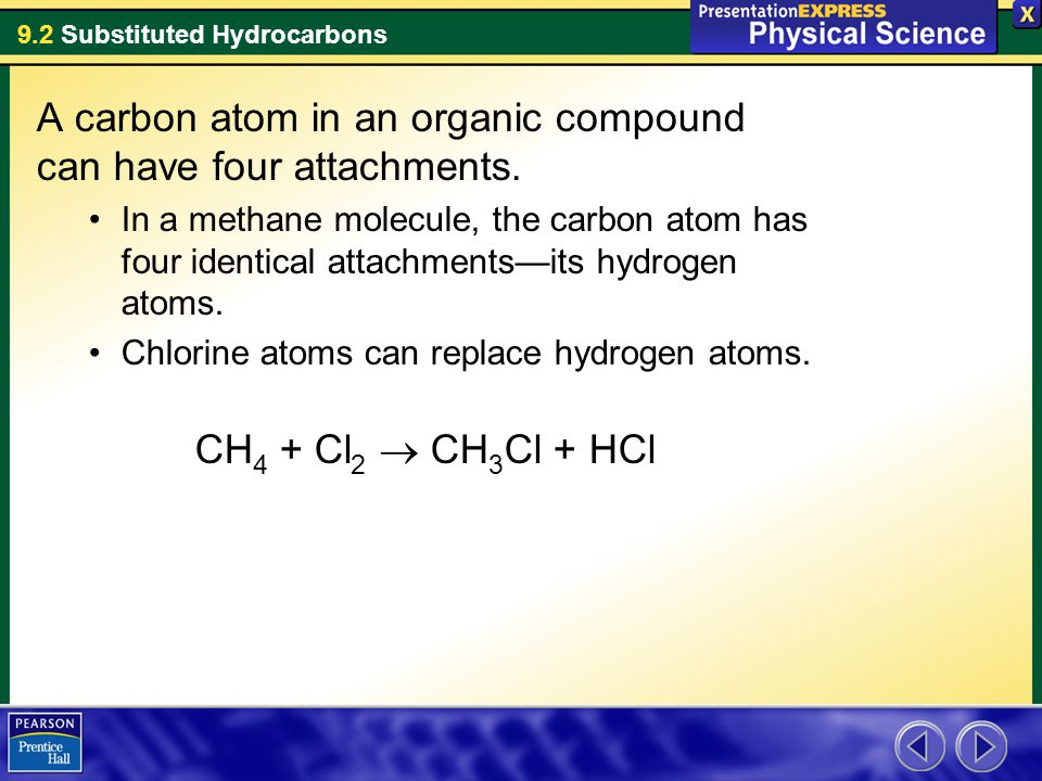 9.2 Substituted Hydrocarbons A carbon atom in an organic compound can have four attachments. In a methane molecule, the carbon atom has four identical