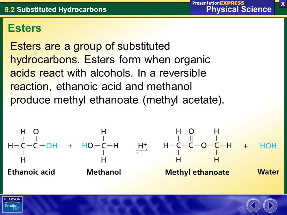 9.2 Substituted Hydrocarbons Esters are a group of substituted hydrocarbons.
