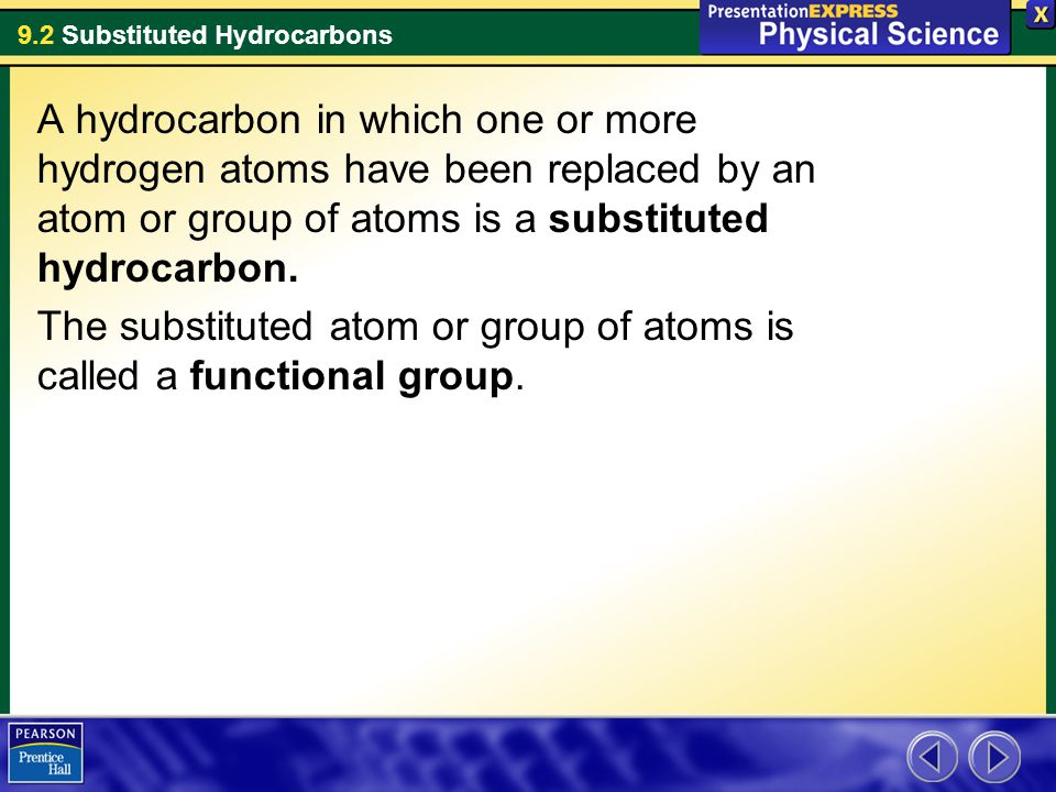9.2 Substituted Hydrocarbons A hydrocarbon in which one or more hydrogen atoms have been replaced by an atom or group of atoms is a substituted hydrocarbon.