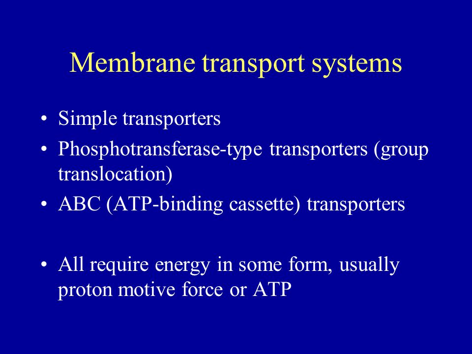 Membrane transport systems Simple transporters Phosphotransferase-type transporters (group translocation) ABC (ATP-binding cassette) transporters All