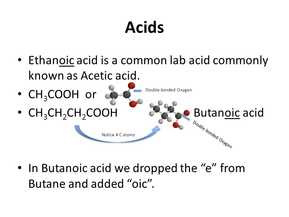 Acids Ethanoic acid is a common lab acid commonly known as Acetic acid.