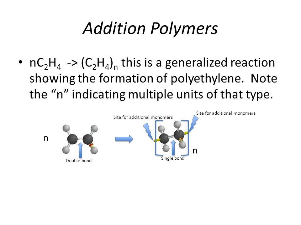 Addition Polymers nC 2 H 4 -> (C 2 H 4 ) n this is a generalized reaction showing the formation of polyethylene.