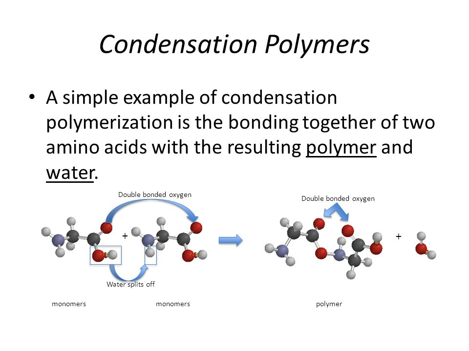 Condensation Polymers A simple example of condensation polymerization is the bonding together of two amino acids with the resulting polymer and water.