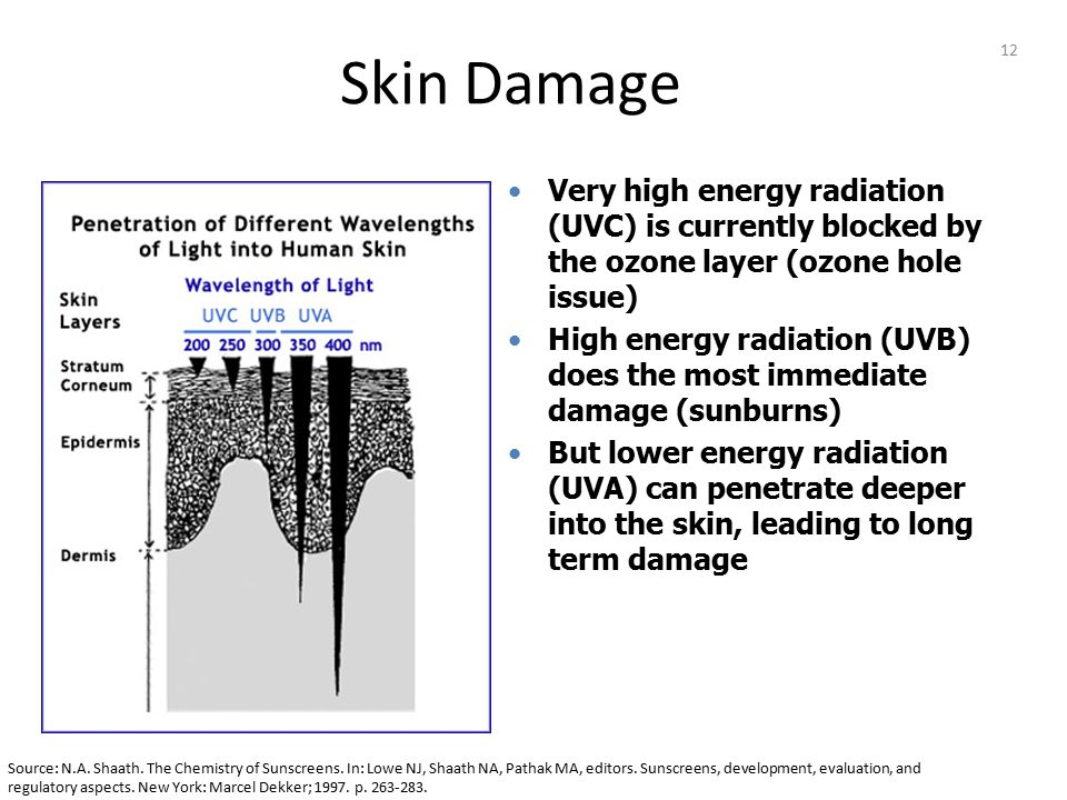 12 Very high energy radiation (UVC) is currently blocked by the ozone layer (ozone hole issue) High energy radiation (UVB) does the most immediate dam