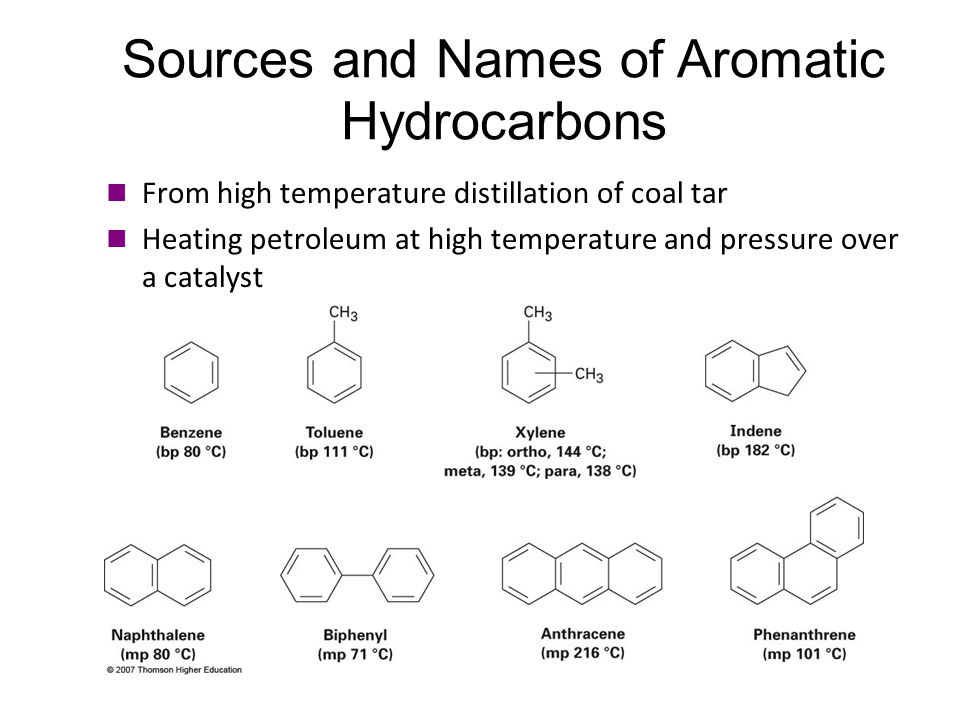 Sources and Names of Aromatic Hydrocarbons From high temperature distillation of coal tar Heating petroleum at high temperature and pressure over a ca