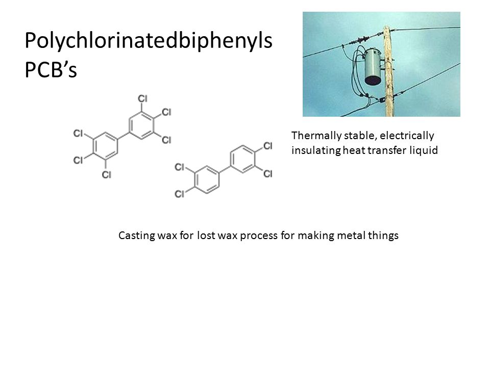 Polychlorinatedbiphenyls PCB's Thermally stable, electrically insulating heat transfer liquid Casting wax for lost wax process for making metal things