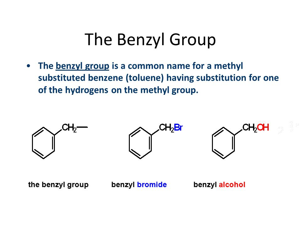 The Benzyl Group The benzyl group is a common name for a methyl substituted benzene (toluene) having substitution for one of the hydrogens on the meth
