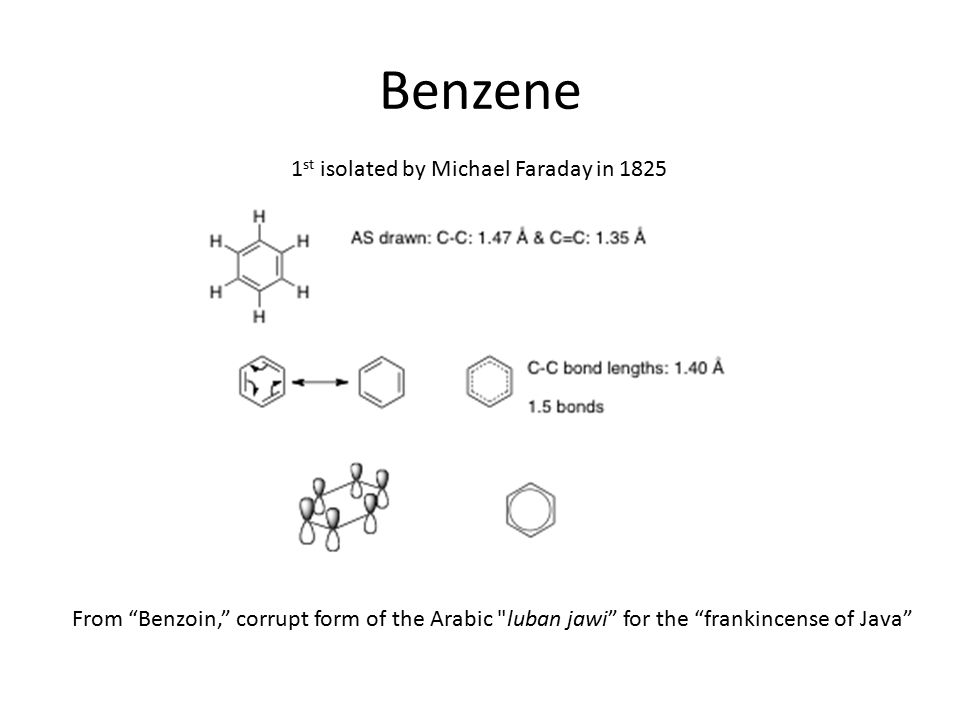 """Benzene 1 st isolated by Michael Faraday in 1825 From """"Benzoin,"""" corrupt form of the Arabic"""