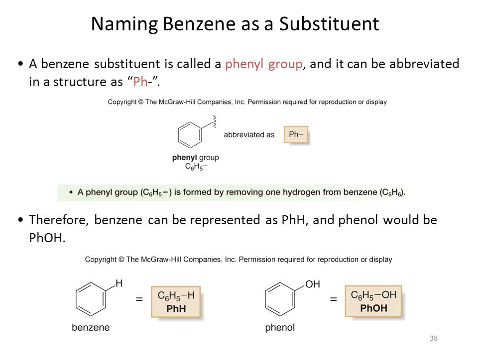 """38 A benzene substituent is called a phenyl group, and it can be abbreviated in a structure as """"Ph-"""". Therefore, benzene can be represented as PhH, an"""