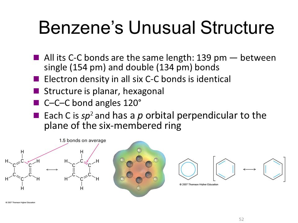 52 Benzene's Unusual Structure All its C-C bonds are the same length: 139 pm — between single (154 pm) and double (134 pm) bonds Electron density in a