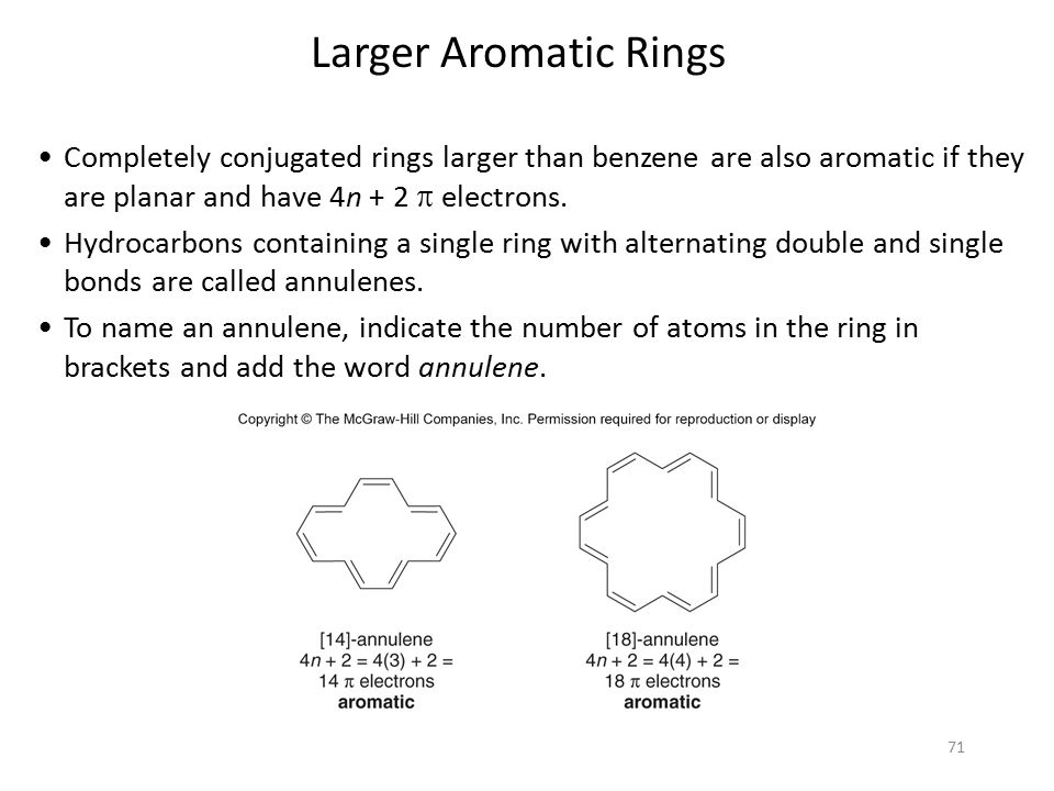 71 Completely conjugated rings larger than benzene are also aromatic if they are planar and have 4n + 2  electrons. Hydrocarbons containing a single