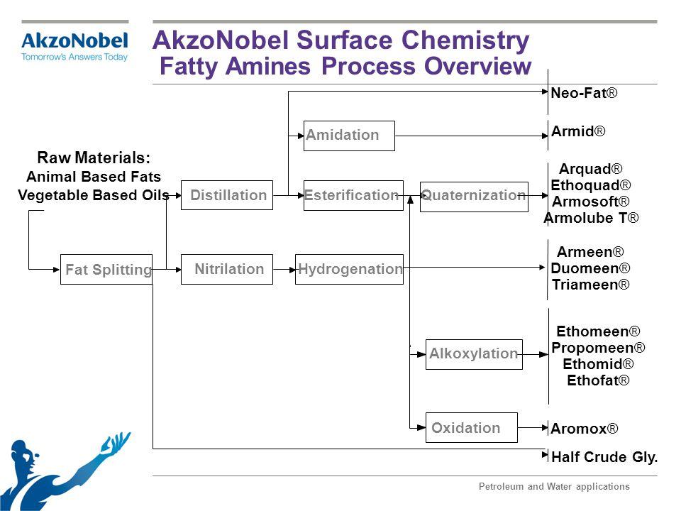 AkzoNobel Surface Chemistry Fatty Amines Process Overview Petroleum and Water applications Fat Splitting Distillation NitrilationHydrogenation Esterif