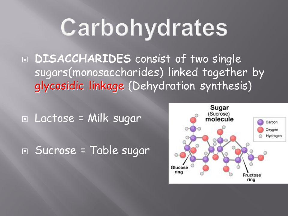 glycosidic linkage  DISACCHARIDES consist of two single sugars(monosaccharides) linked together by glycosidic linkage (Dehydration synthesis)  Lactose = Milk sugar  Sucrose = Table sugar