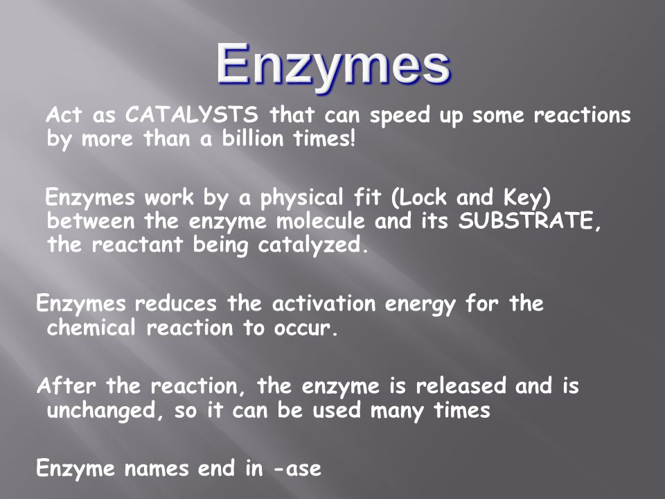 Act as CATALYSTS that can speed up some reactions by more than a billion times.