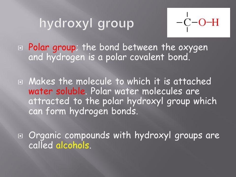  Polar group; the bond between the oxygen and hydrogen is a polar covalent bond.