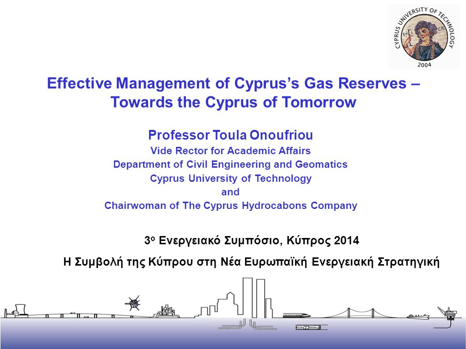 2 Introduction – Hydrocarbon Discoveries in Cyprus and Current Status Initial gas discovery offshore in Dec 2011 in Block 12 by Noble Energy, estimated around 4 trillion cubic feet, further confirmatory drilling ENI/KOGAS have blocks 2,3,9 seismic surveys, planning exploration drilling to start in 2014 TOTAL have blocks 10,11, seismic surveys, plannng exploration drilling 2015 There are also indications for oil 2