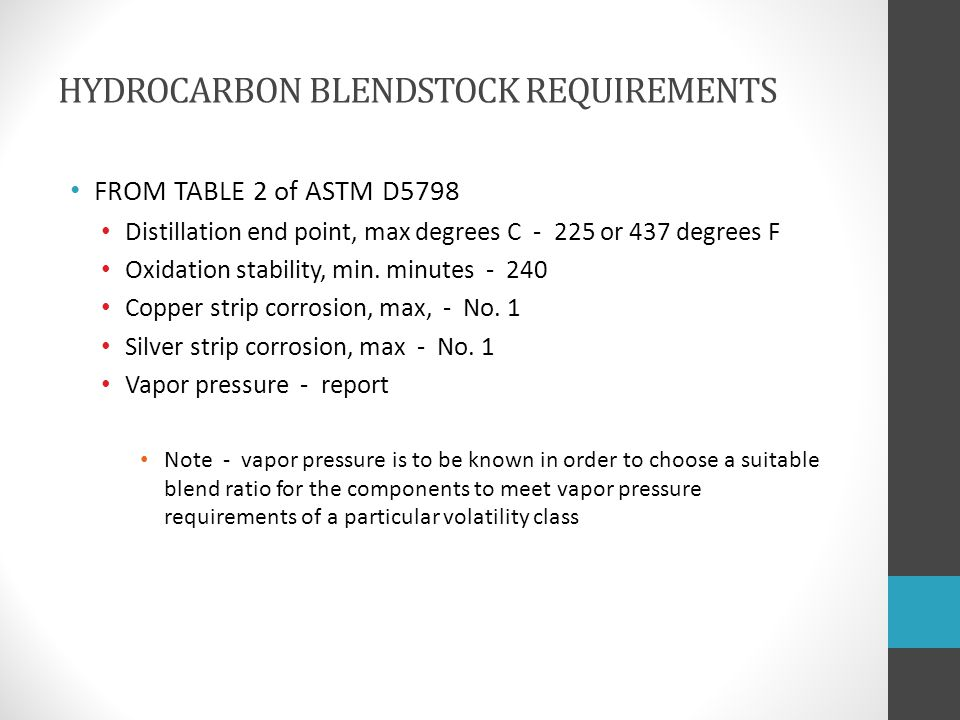 HYDROCARBON BLENDSTOCK REQUIREMENTS FROM TABLE 2 of ASTM D5798 Distillation end point, max degrees C - 225 or 437 degrees F Oxidation stability, min.