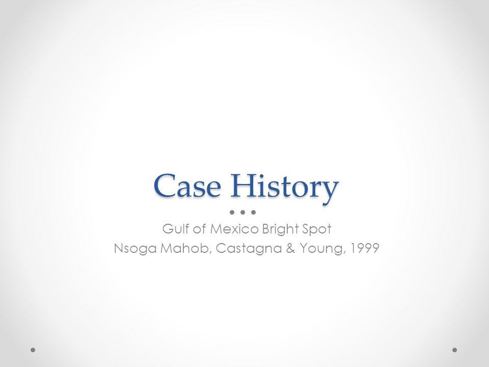 Case History Gulf of Mexico Bright Spot Nsoga Mahob, Castagna & Young, 1999