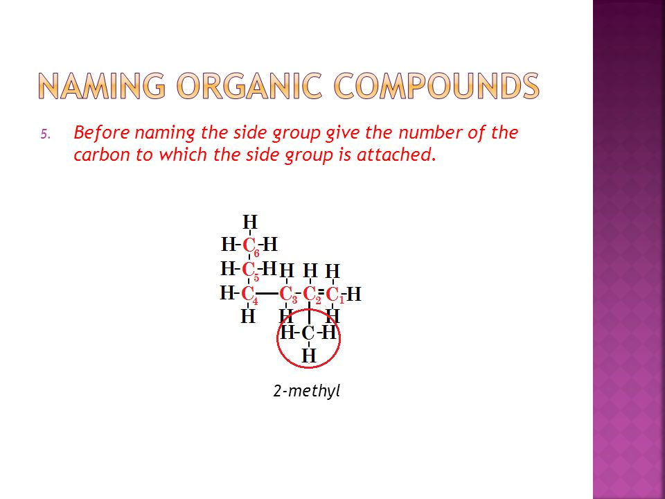5. Before naming the side group give the number of the carbon to which the side group is attached.