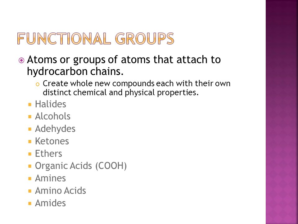  Atoms or groups of atoms that attach to hydrocarbon chains. Create whole new compounds each with their own distinct chemical and physical properties