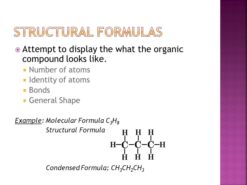  Attempt to display the what the organic compound looks like.