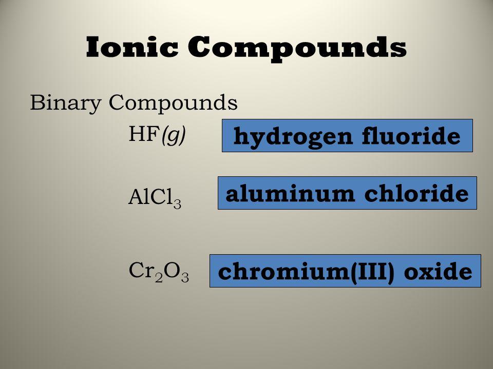 Ionic Compounds Binary Compounds HF (g) AlCl 3 Cr 2 O 3 hydrogen fluoride aluminum chloride chromium(III) oxide