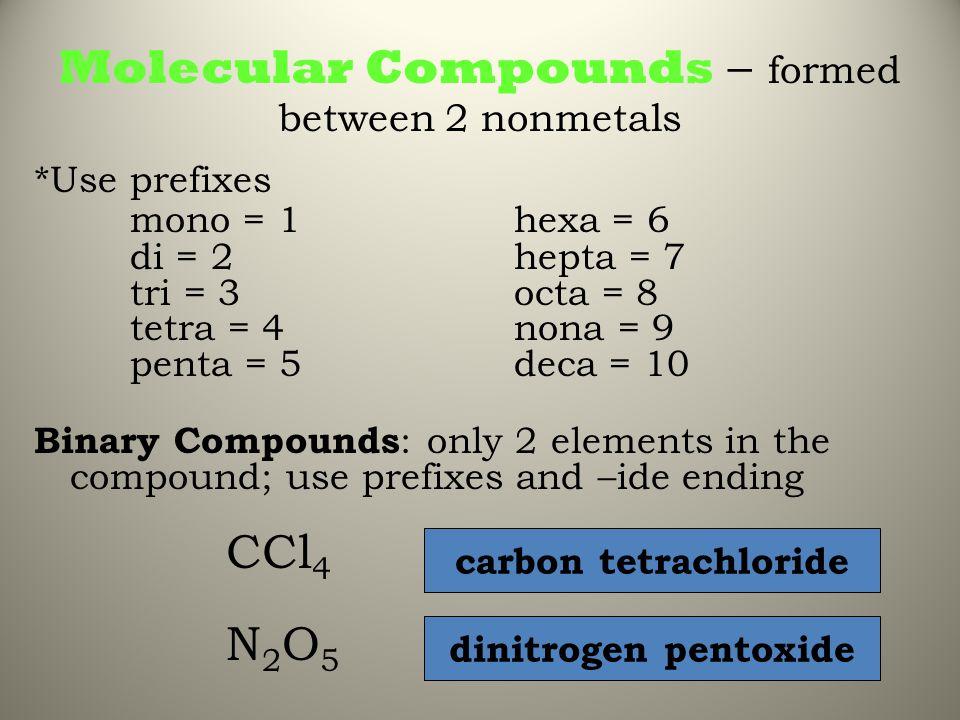 Molecular Compounds – formed between 2 nonmetals *Use prefixes mono = 1 hexa = 6 di = 2hepta = 7 tri = 3octa = 8 tetra = 4nona = 9 penta = 5deca = 10
