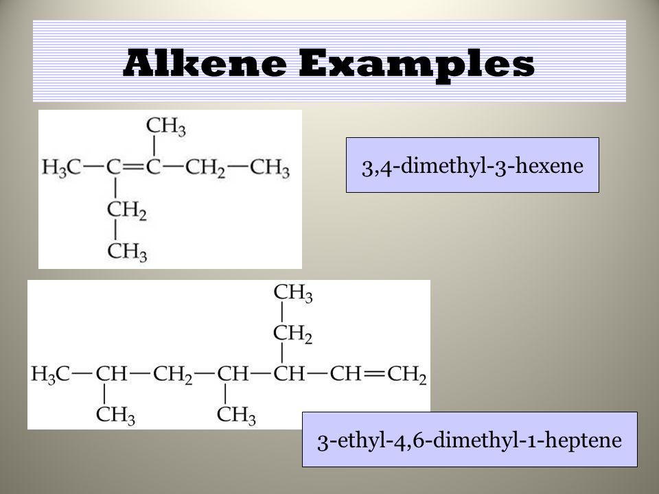 Alkene Examples 3,4-dimethyl-3-hexene 3-ethyl-4,6-dimethyl-1-heptene