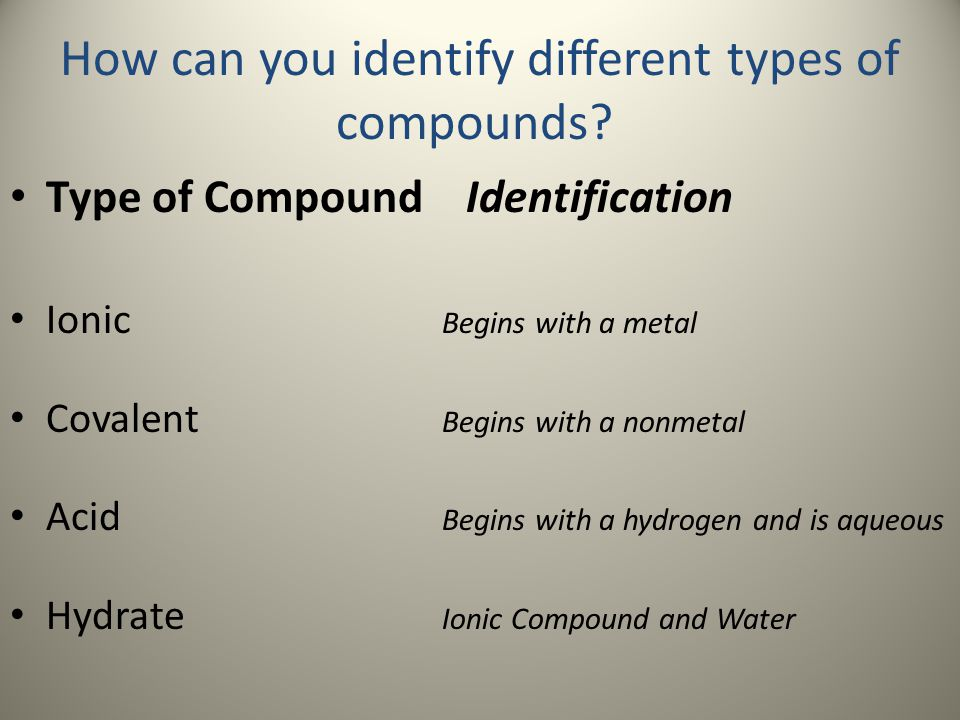 How can you identify different types of compounds? Type of Compound Identification Ionic Begins with a metal Covalent Begins with a nonmetal Acid Begi