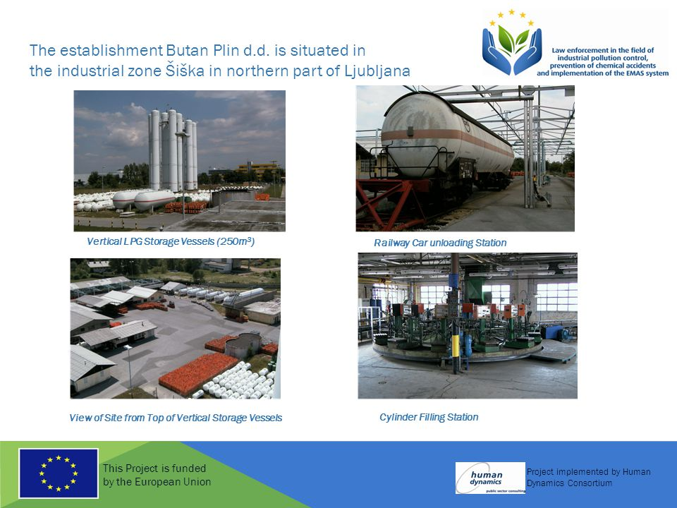 This Project is funded by the European Union Project implemented by Human Dynamics Consortium Railway Car unloading Station Vertical LPG Storage Vessels (250m 3 ) View of Site from Top of Vertical Storage Vessels Cylinder Filling Station The establishment Butan Plin d.d.