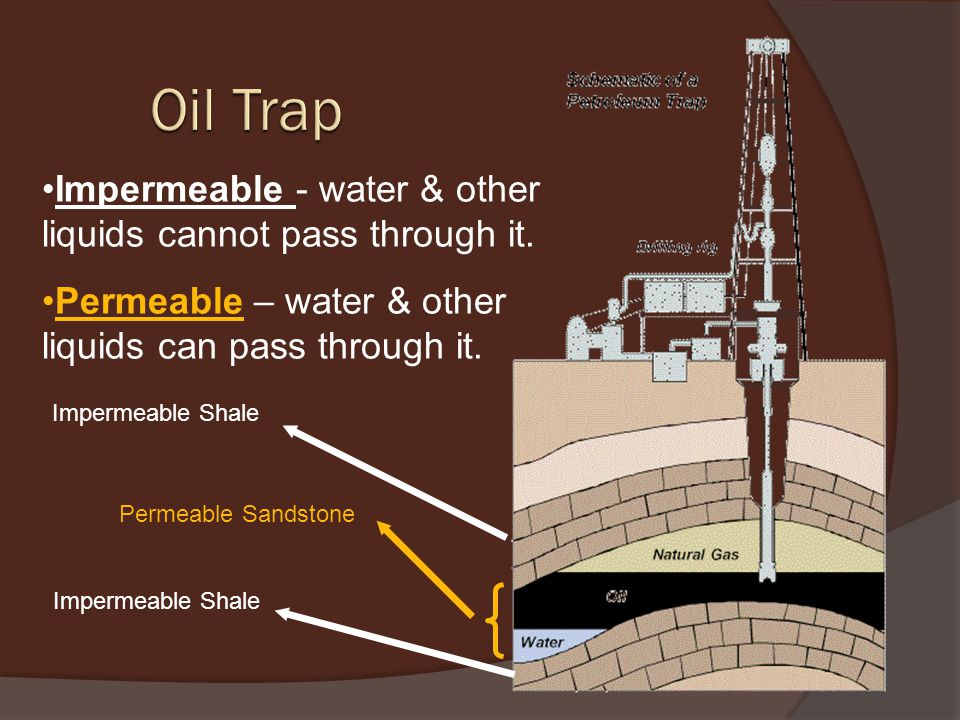 Impermeable Shale Impermeable - water & other liquids cannot pass through it.