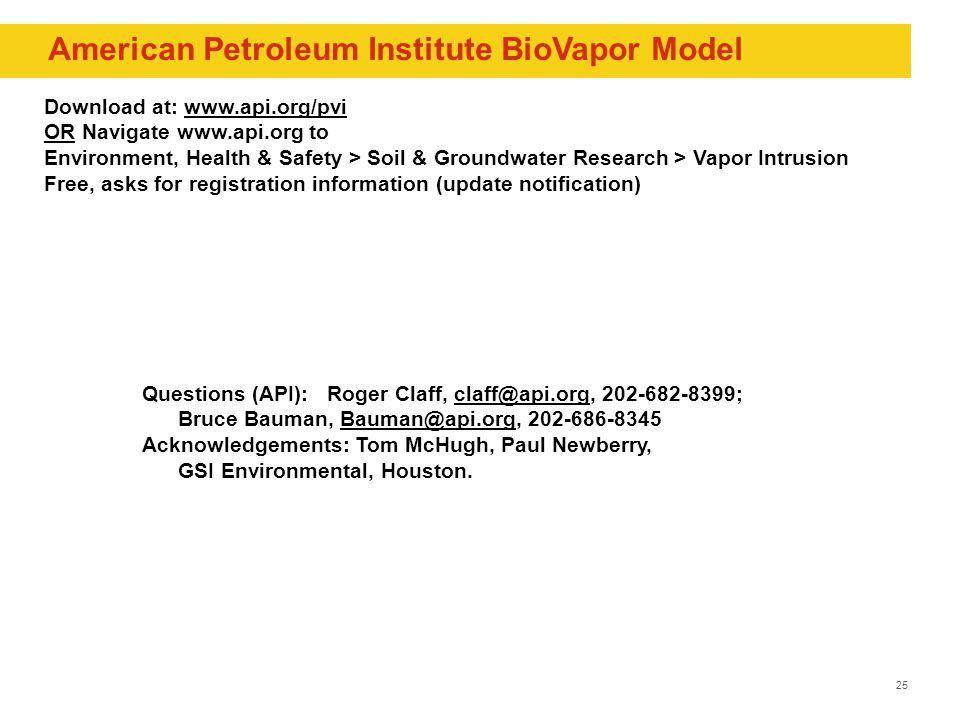 25 Questions (API): Roger Claff, claff@api.org, 202-682-8399;claff@api.org Bruce Bauman, Bauman@api.org, 202-686-8345Bauman@api.org Acknowledgements: Tom McHugh, Paul Newberry, GSI Environmental, Houston.