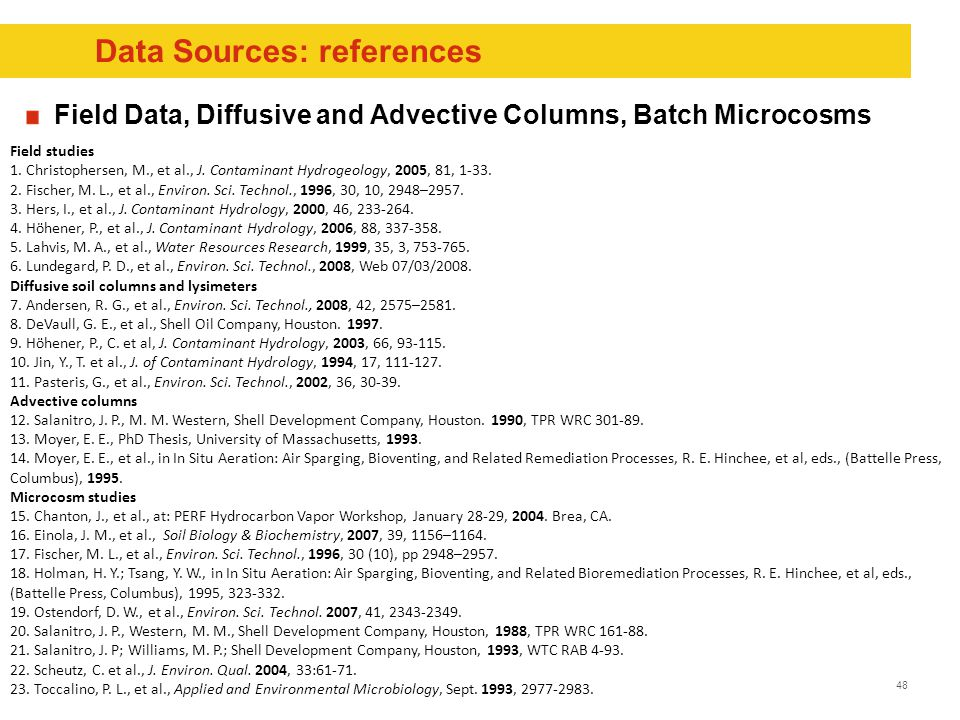 48 Data Sources: references Field Data, Diffusive and Advective Columns, Batch Microcosms Field studies 1.