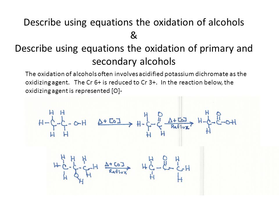 Describe using equations the oxidation of alcohols & Describe using equations the oxidation of primary and secondary alcohols The oxidation of alcohol