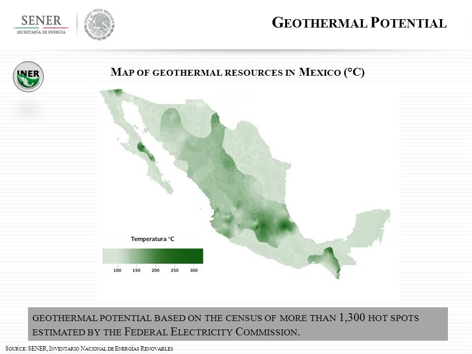 GEOTHERMAL POTENTIAL BASED ON THE CENSUS OF MORE THAN 1,300 HOT SPOTS ESTIMATED BY THE F EDERAL E LECTRICITY C OMMISSION.