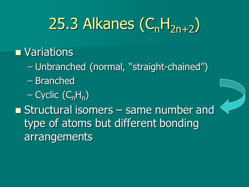 25.3 Alkanes (C n H 2n+2 ) Variations Variations –Unbranched (normal, straight-chained ) –Branched –Cyclic (C n H n ) Structural isomers – same number and type of atoms but different bonding arrangements Structural isomers – same number and type of atoms but different bonding arrangements
