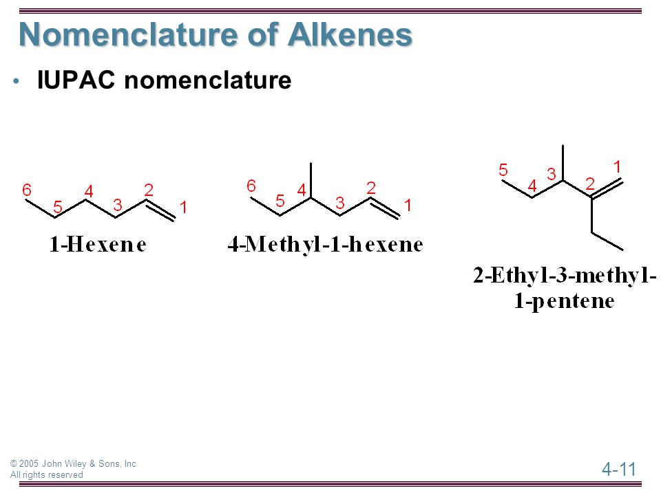 4-11 © 2005 John Wiley & Sons, Inc All rights reserved Nomenclature of Alkenes IUPAC nomenclature