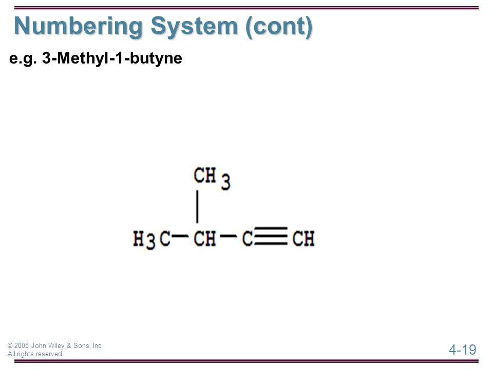 4-19 © 2005 John Wiley & Sons, Inc All rights reserved Numbering System (cont) e.g. 3-Methyl-1-butyne