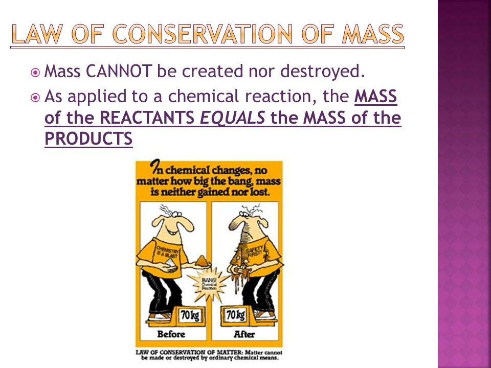  Mass CANNOT be created nor destroyed.  As applied to a chemical reaction, the MASS of the REACTANTS EQUALS the MASS of the PRODUCTS