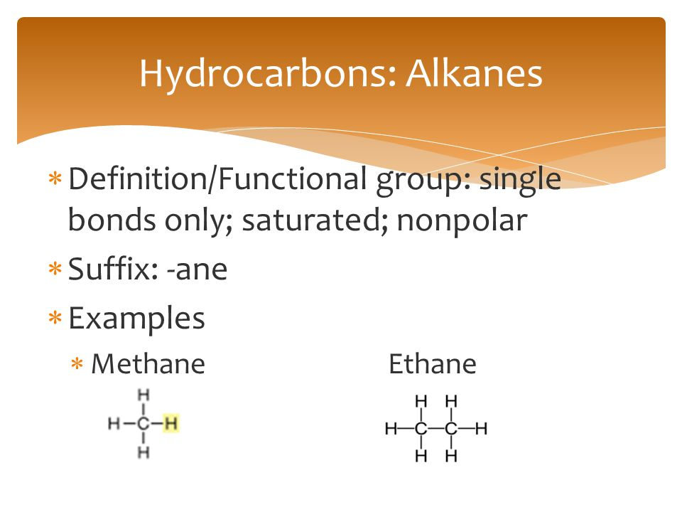  Definition/Functional group: single bonds only; saturated; nonpolar  Suffix: -ane  Examples  MethaneEthane Hydrocarbons: Alkanes